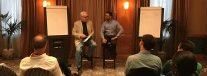 Ankush and Steve event for coaches in London talking about creativity